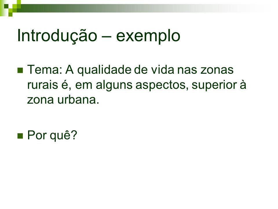 Introdução – exemplo Tema: A qualidade de vida nas zonas rurais é, em alguns aspectos, superior à zona urbana. Por quê?