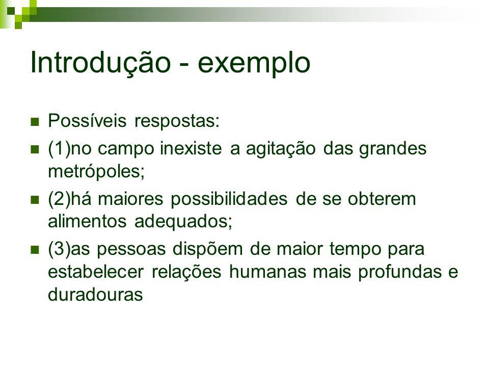 Introdução - exemplo Possíveis respostas: (1)no campo inexiste a agitação das grandes metrópoles; (2)há maiores possibilidades de se obterem alimentos