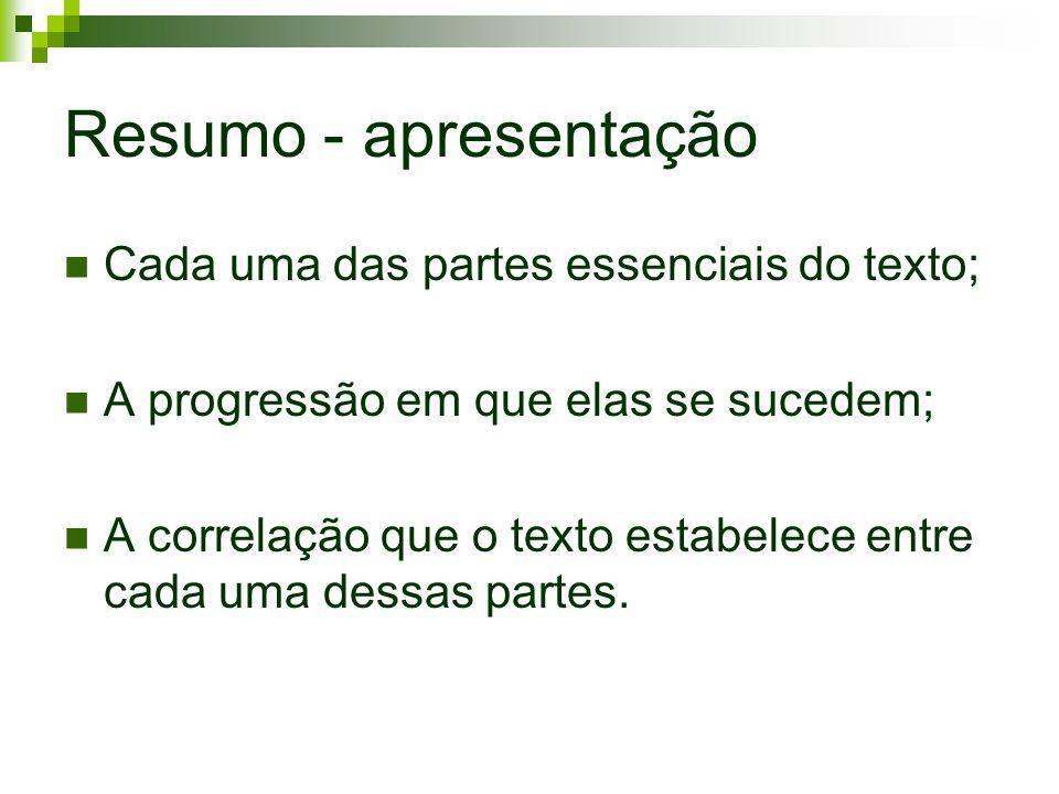 Resumo - apresentação Cada uma das partes essenciais do texto; A progressão em que elas se sucedem; A correlação que o texto estabelece entre cada uma