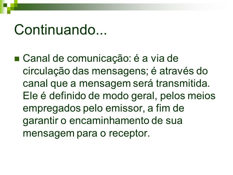 Continuando... Canal de comunicação: é a via de circulação das mensagens; é através do canal que a mensagem será transmitida. Ele é definido de modo g