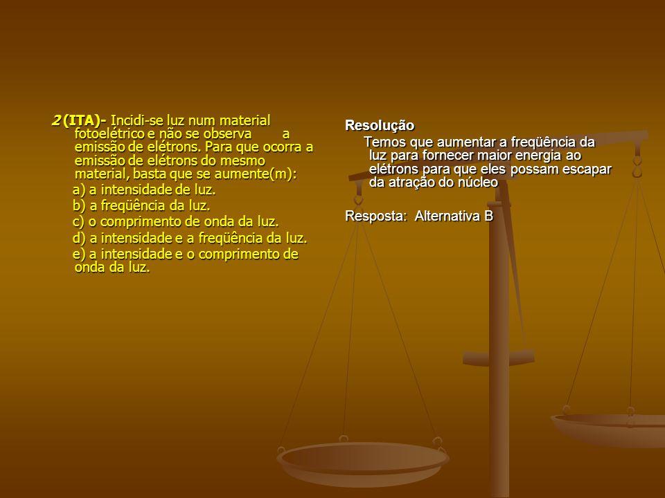 2 (ITA)- Incidi-se luz num material fotoelétrico e não se observa a emissão de elétrons.