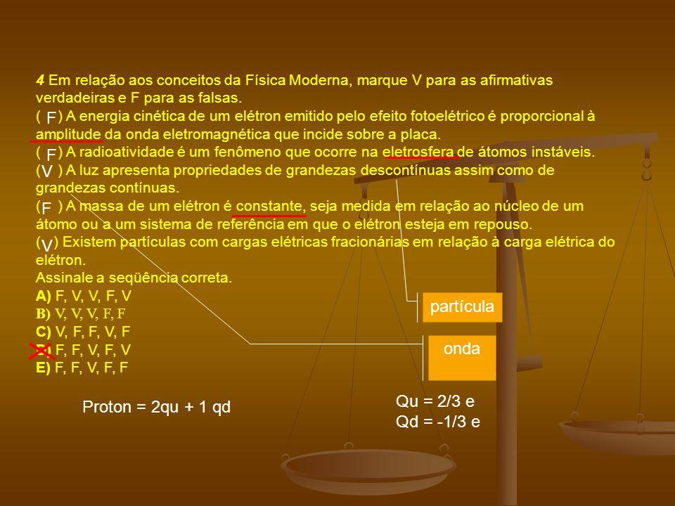 4 Em relação aos conceitos da Física Moderna, marque V para as afirmativas verdadeiras e F para as falsas.