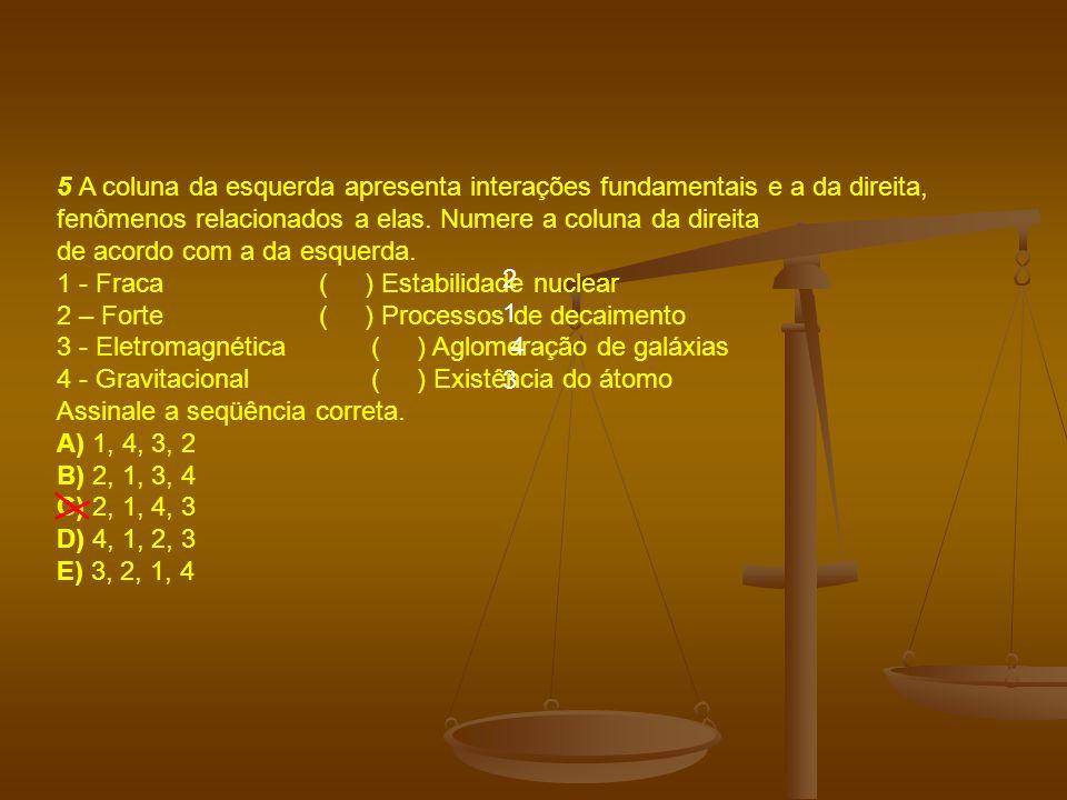 5 A coluna da esquerda apresenta interações fundamentais e a da direita, fenômenos relacionados a elas.