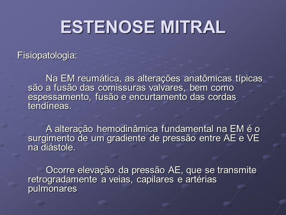 ESTENOSE MITRAL Fisiopatologia: Com o aumento de pressão dentro do AE, ocorre concomitantemente, aumento de suas dimensões, levando ao surgimento de focos arritmogênicos aumentando a chance de surgimento de Fibrilação Atrial.