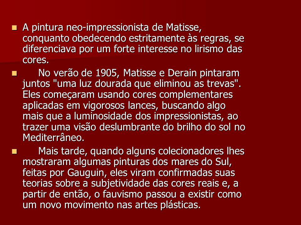 A pintura neo-impressionista de Matisse, conquanto obedecendo estritamente às regras, se diferenciava por um forte interesse no lirismo das cores.