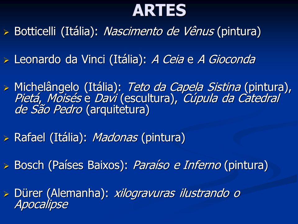 ARTES Botticelli (Itália): Nascimento de Vênus (pintura) Botticelli (Itália): Nascimento de Vênus (pintura) Leonardo da Vinci (Itália): A Ceia e A Gio