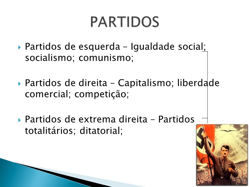 Partidos de esquerda – Igualdade social; socialismo; comunismo; Partidos de direita – Capitalismo; liberdade comercial; competição; Partidos de extrem
