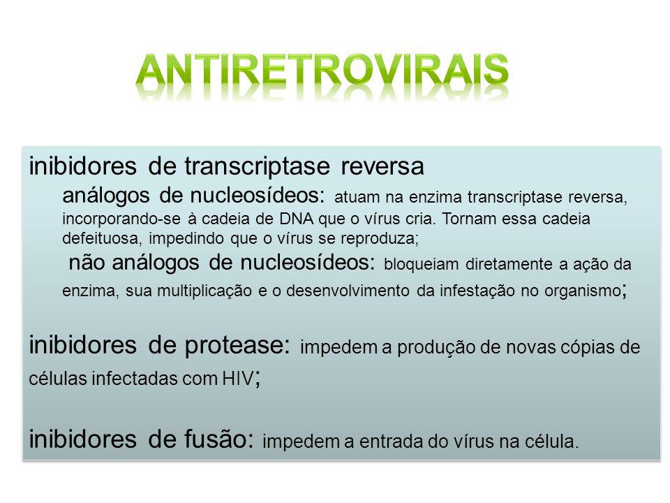 inibidores de transcriptase reversa análogos de nucleosídeos: atuam na enzima transcriptase reversa, incorporando-se à cadeia de DNA que o vírus cria.