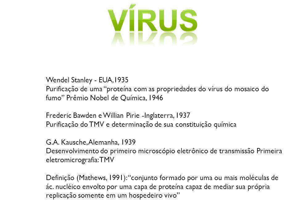 Wendel Stanley - EUA,1935 Purificação de uma proteína com as propriedades do vírus do mosaico do fumo Prêmio Nobel de Química, 1946 Frederic Bawden e