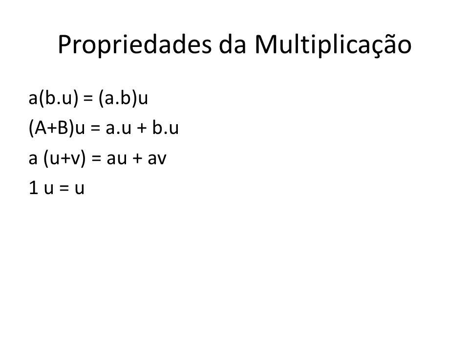 Propriedades da Multiplicação a(b.u) = (a.b)u (A+B)u = a.u + b.u a (u+v) = au + av 1 u = u