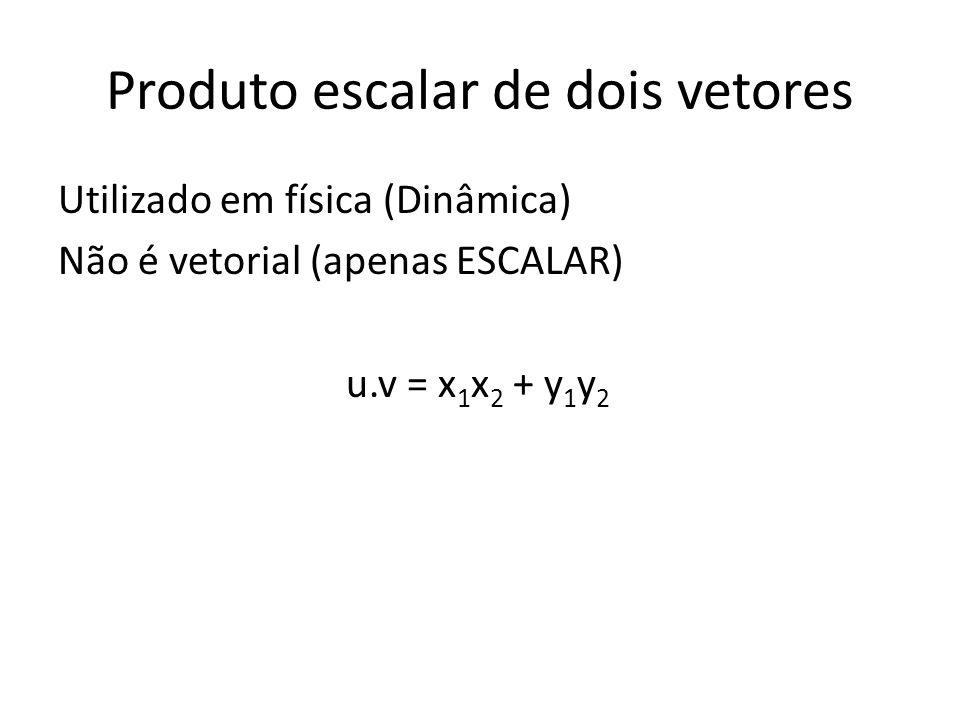 Produto escalar de dois vetores Utilizado em física (Dinâmica) Não é vetorial (apenas ESCALAR) u.v = x 1 x 2 + y 1 y 2