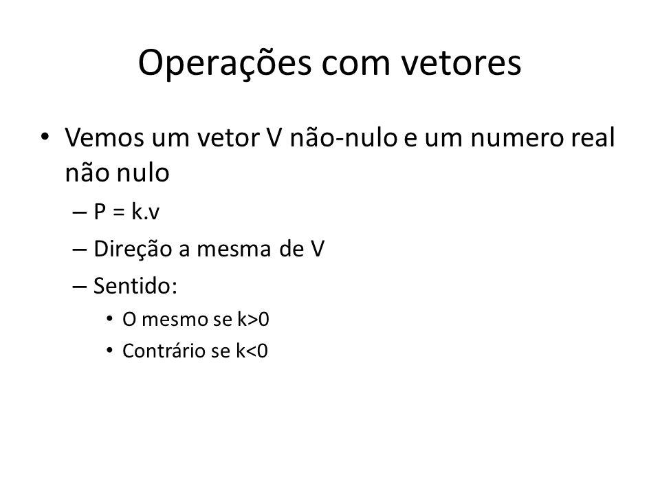 Operações com vetores Vemos um vetor V não-nulo e um numero real não nulo – P = k.v – Direção a mesma de V – Sentido: O mesmo se k>0 Contrário se k<0