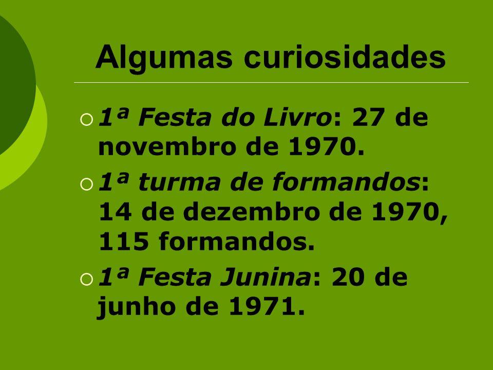 Algumas curiosidades 1ª Festa do Livro: 27 de novembro de 1970. 1ª turma de formandos: 14 de dezembro de 1970, 115 formandos. 1ª Festa Junina: 20 de j