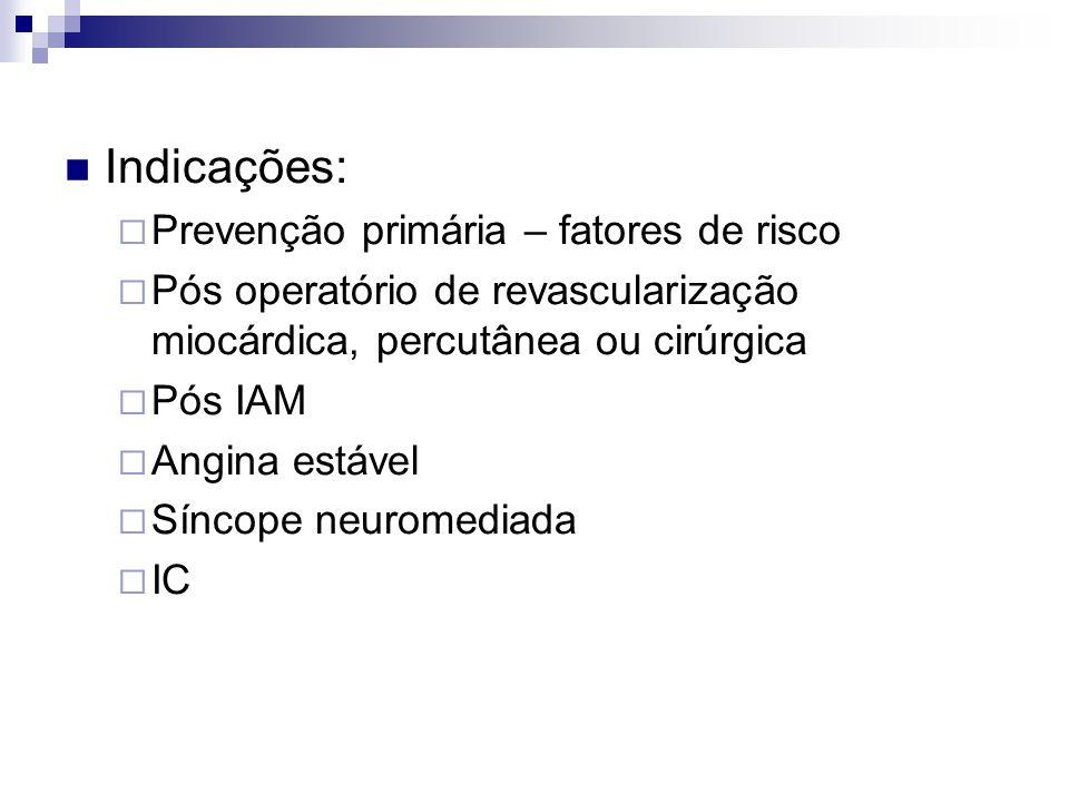 Indicações: Prevenção primária – fatores de risco Pós operatório de revascularização miocárdica, percutânea ou cirúrgica Pós IAM Angina estável Síncope neuromediada IC