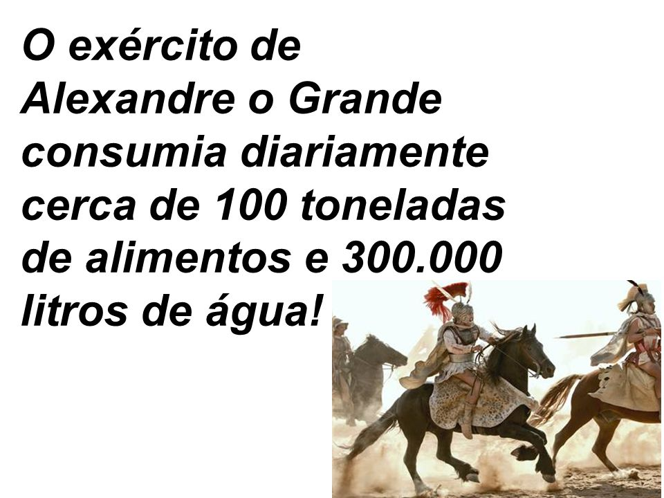 O exército de Alexandre o Grande consumia diariamente cerca de 100 toneladas de alimentos e 300.000 litros de água!