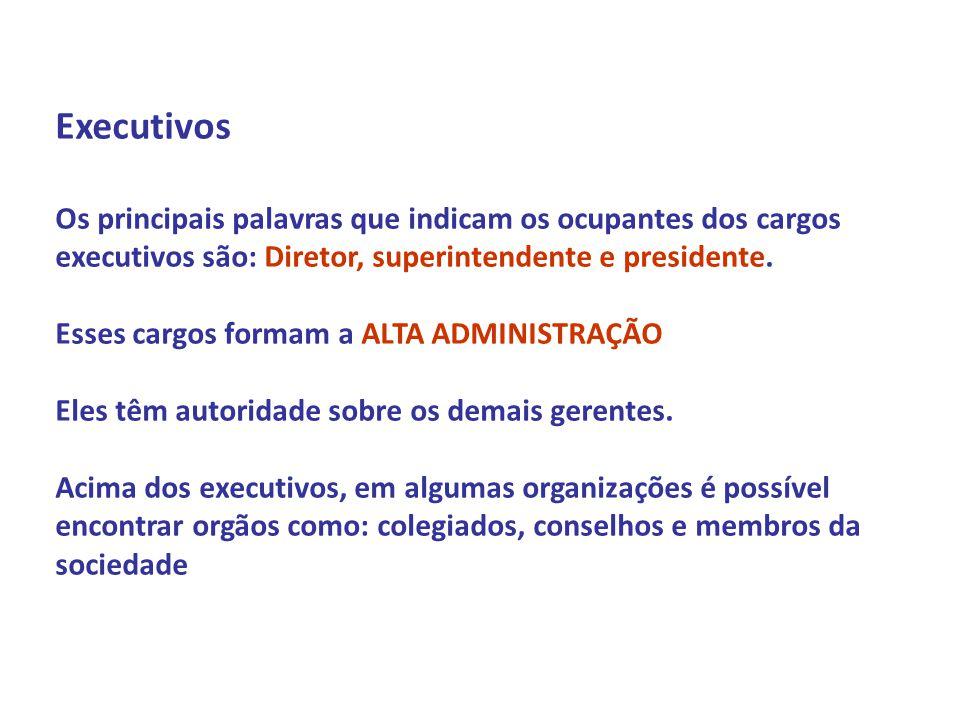 Profº Daniel Marim Disciplina: ADMINISTRAÇÃO 1º Semestre 2009 Executivos Os principais palavras que indicam os ocupantes dos cargos executivos são: Di