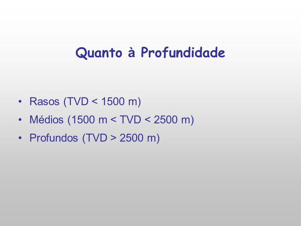 Quanto à Profundidade Rasos (TVD < 1500 m) Médios (1500 m < TVD < 2500 m) Profundos (TVD > 2500 m)