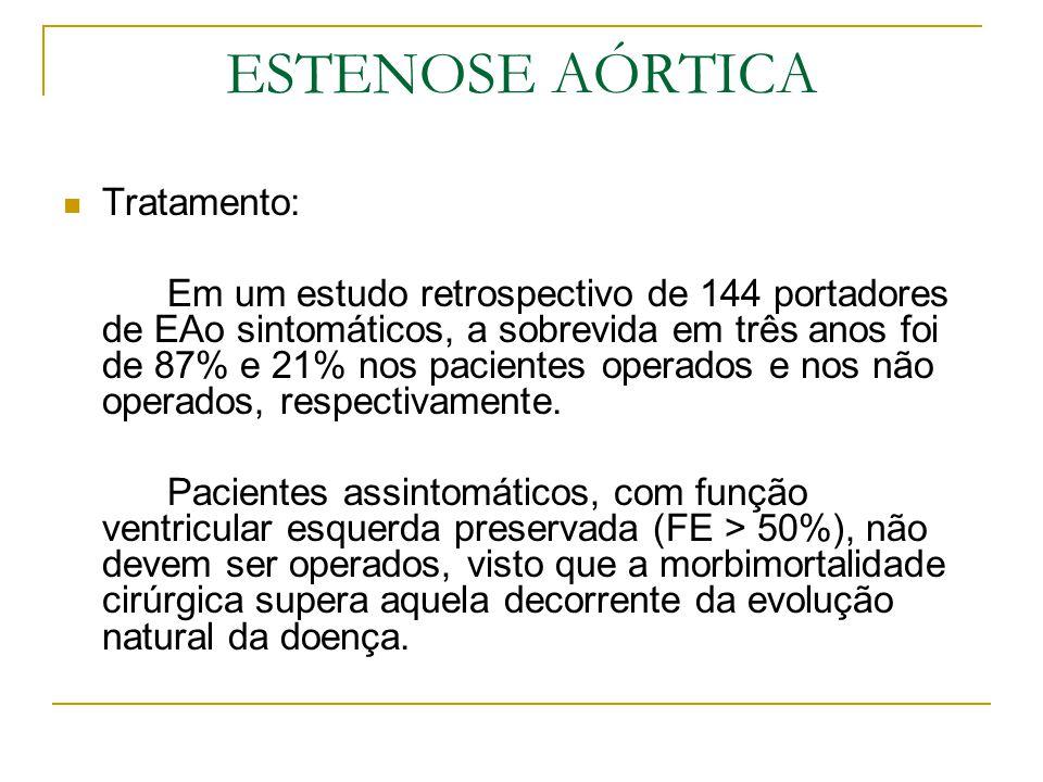 ESTENOSE AÓRTICA Tratamento: Em um estudo retrospectivo de 144 portadores de EAo sintomáticos, a sobrevida em três anos foi de 87% e 21% nos pacientes
