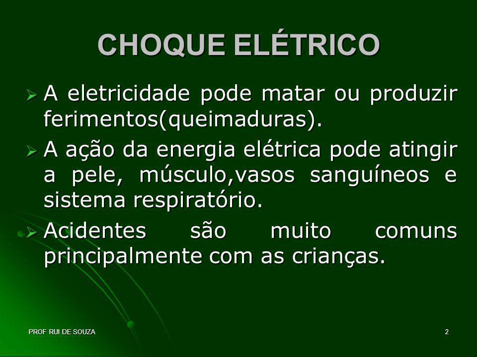PROF RUI DE SOUZA3 CHOQUE ELÉTRICO Pode ocorrer sob quatro formas: Contato com um circuito energizado.