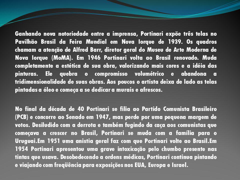 Ganhando nova notoriedade entre a imprensa, Portinari expõe três telas no Pavilhão Brasil da Feira Mundial em Nova Iorque de 1939. Os quadros chamam a