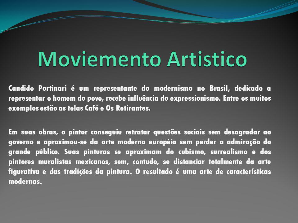 Candido Portinari é um representante do modernismo no Brasil, dedicado a representar o homem do povo, recebe influência do expressionismo. Entre os mu