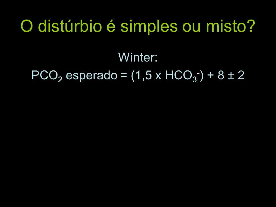 O distúrbio é simples ou misto? Winter: PCO 2 esperado = (1,5 x HCO 3 - ) + 8 ± 2