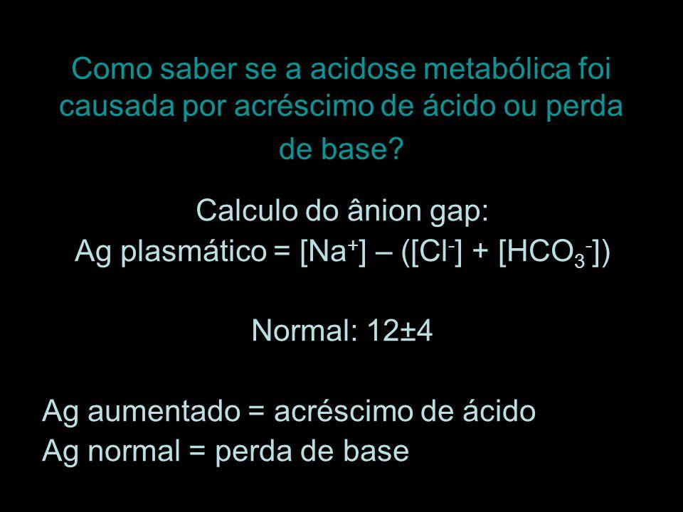 Como saber se a acidose metabólica foi causada por acréscimo de ácido ou perda de base? Calculo do ânion gap: Ag plasmático = [Na + ] – ([Cl - ] + [HC