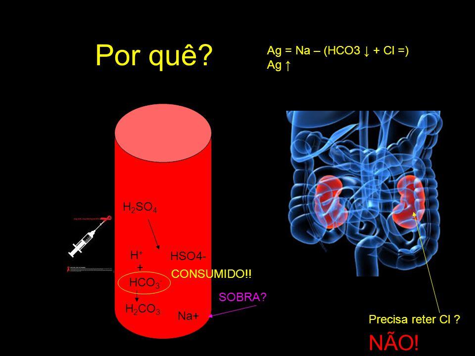 Acréscimo de ácido (ânion gap alto) Endógeno: Cetoacidose diabética Choque circulatório Insuficiência renal avançada Exógeno: Intoxicações por etilenoglicol, metanol, salicilatos