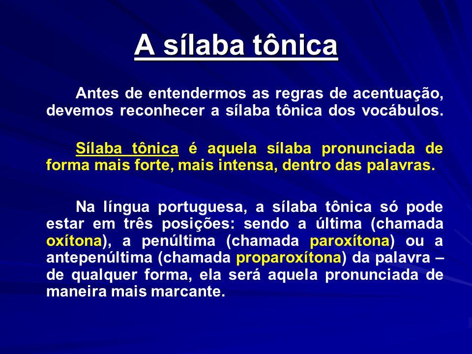A sílaba tônica Antes de entendermos as regras de acentuação, devemos reconhecer a sílaba tônica dos vocábulos. Sílaba tônica é aquela sílaba pronunci