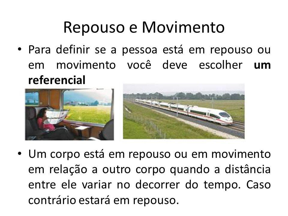 Repouso e Movimento Para definir se a pessoa está em repouso ou em movimento você deve escolher um referencial Um corpo está em repouso ou em moviment