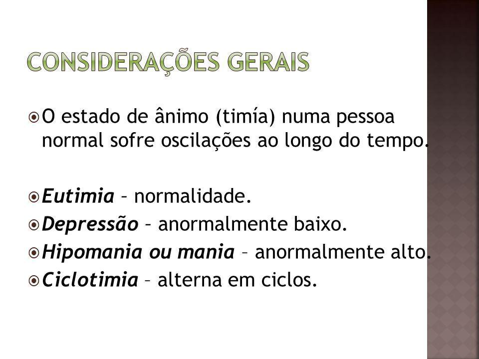 O estado de ânimo (timía) numa pessoa normal sofre oscilações ao longo do tempo. Eutimia – normalidade. Depressão – anormalmente baixo. Hipomania ou m