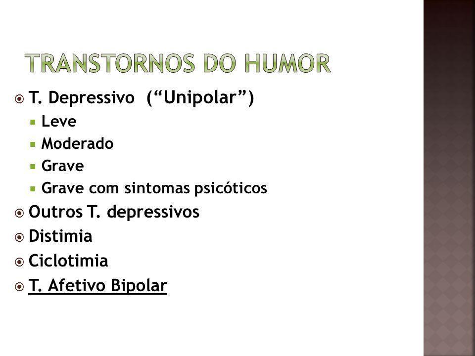 T. Depressivo (Unipolar) Leve Moderado Grave Grave com sintomas psicóticos Outros T. depressivos Distimia Ciclotimia T. Afetivo Bipolar