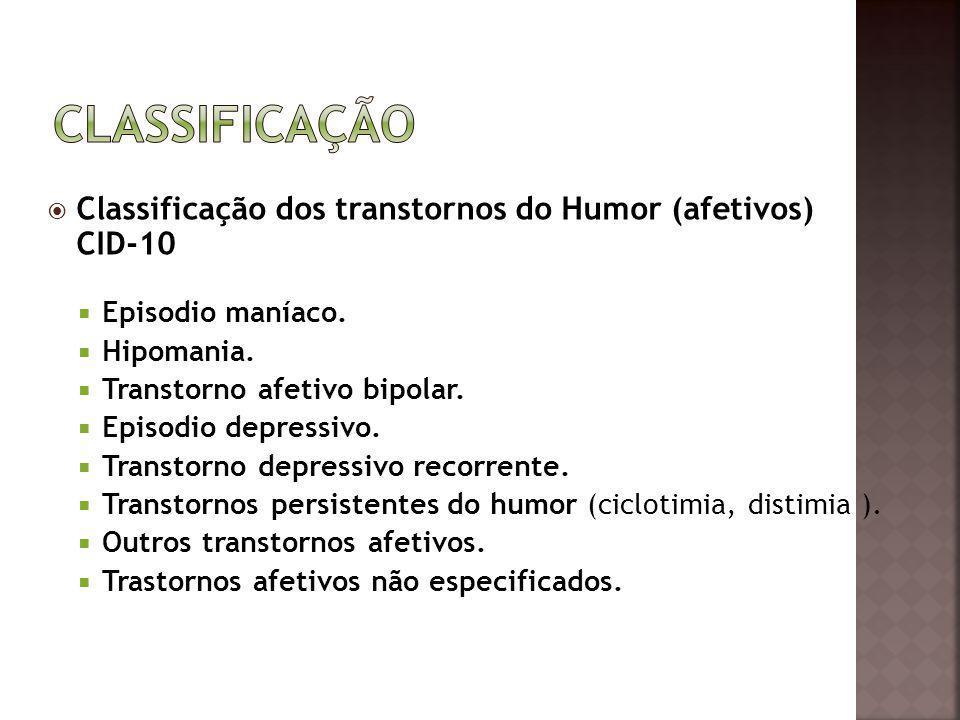 Classificação dos transtornos do Humor (afetivos) CID-10 Episodio maníaco. Hipomania. Transtorno afetivo bipolar. Episodio depressivo. Transtorno depr