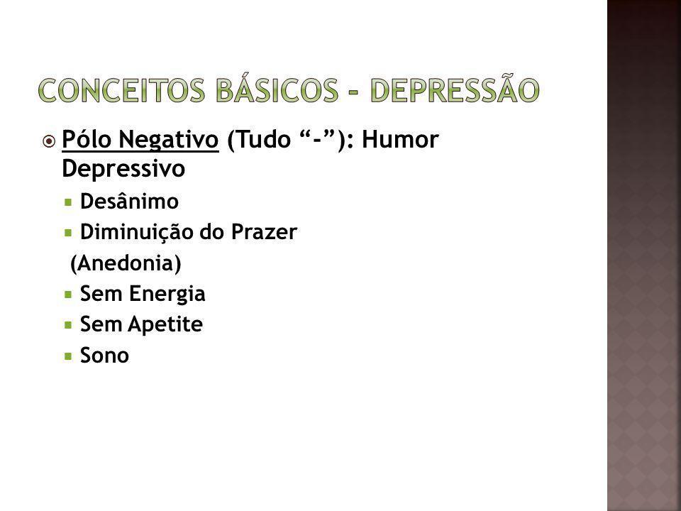 Pólo Negativo (Tudo -): Humor Depressivo Desânimo Diminuição do Prazer (Anedonia) Sem Energia Sem Apetite Sono