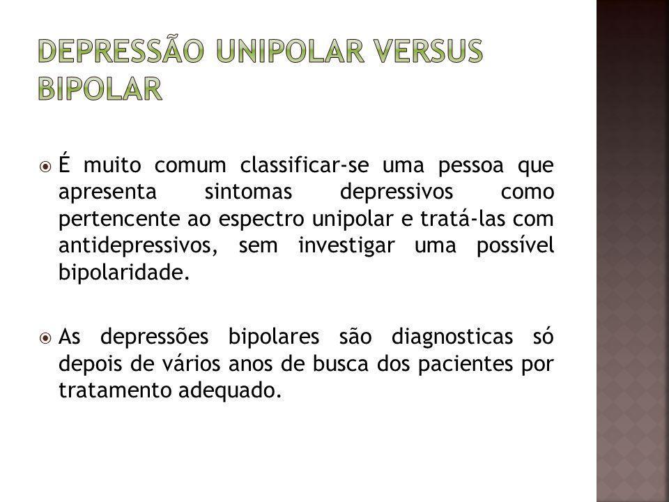 É muito comum classificar-se uma pessoa que apresenta sintomas depressivos como pertencente ao espectro unipolar e tratá-las com antidepressivos, sem