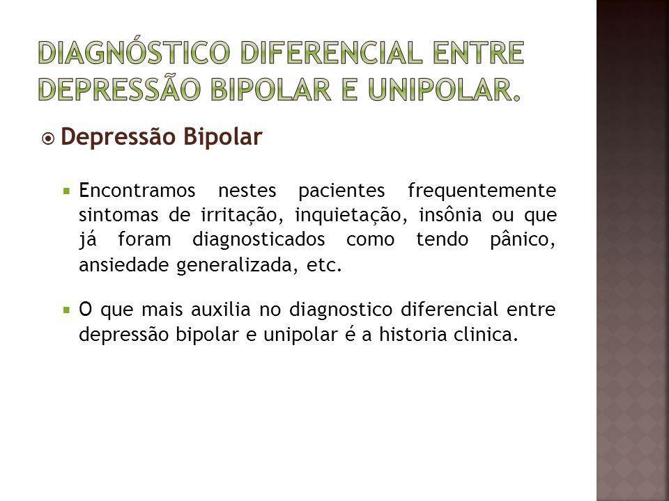 Depressão Bipolar Encontramos nestes pacientes frequentemente sintomas de irritação, inquietação, insônia ou que já foram diagnosticados como tendo pâ