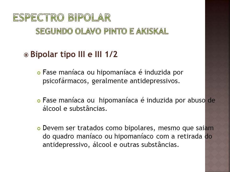 Bipolar tipo III e III 1/2 Fase maníaca ou hipomaníaca é induzida por psicofármacos, geralmente antidepressivos. Fase maníaca ou hipomaníaca é induzid