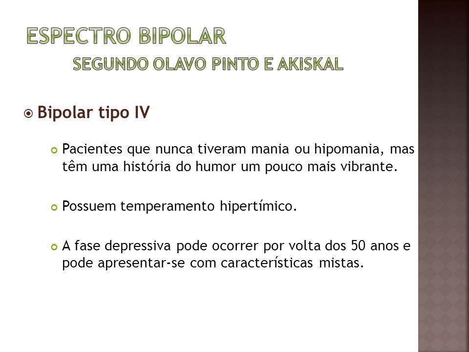 Bipolar tipo IV Pacientes que nunca tiveram mania ou hipomania, mas têm uma história do humor um pouco mais vibrante. Possuem temperamento hipertímico