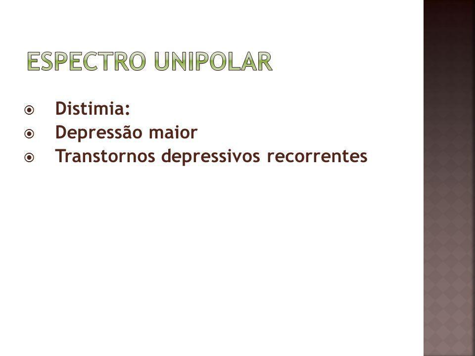 Distimia: Depressão maior Transtornos depressivos recorrentes