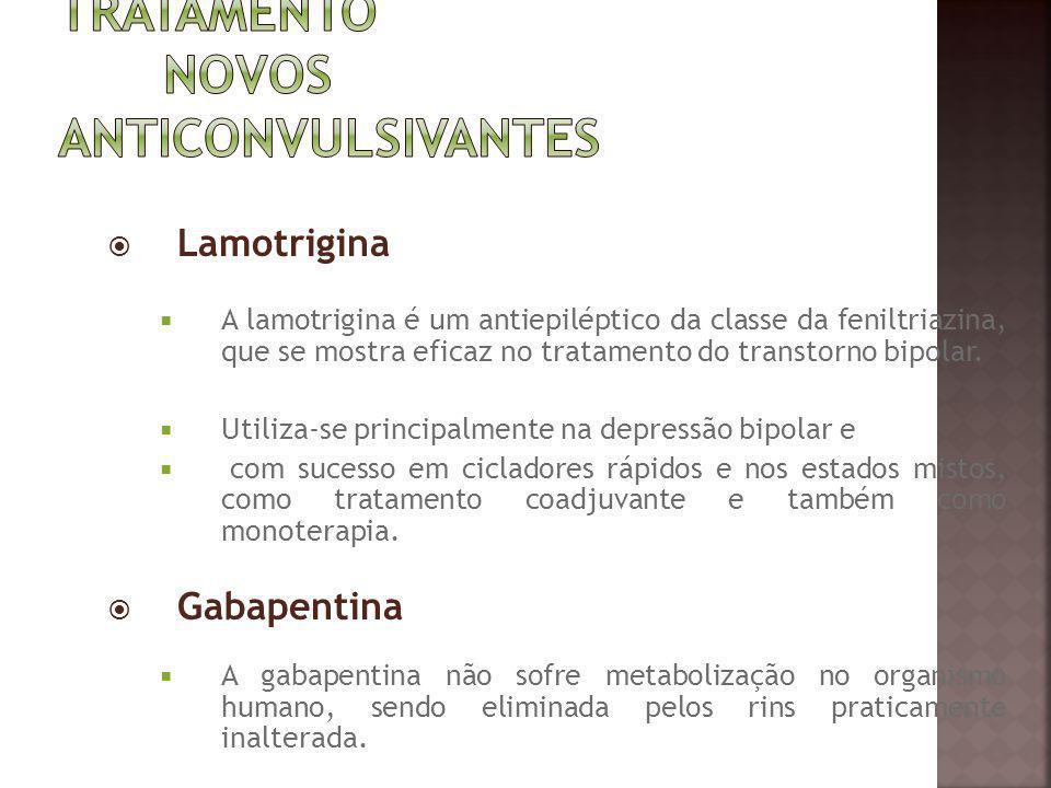 Lamotrigina A lamotrigina é um antiepiléptico da classe da feniltriazina, que se mostra eficaz no tratamento do transtorno bipolar. Utiliza-se princip