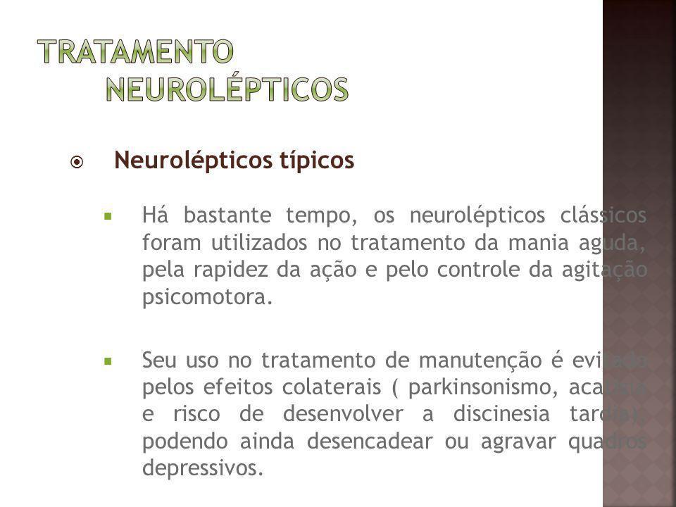 Neurolépticos típicos Há bastante tempo, os neurolépticos clássicos foram utilizados no tratamento da mania aguda, pela rapidez da ação e pelo control