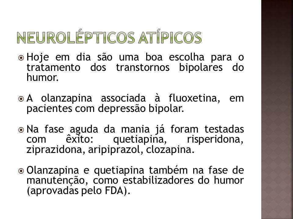 Hoje em dia são uma boa escolha para o tratamento dos transtornos bipolares do humor. A olanzapina associada à fluoxetina, em pacientes com depressão