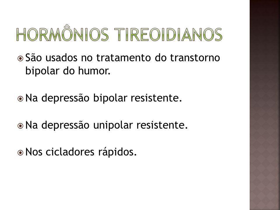 São usados no tratamento do transtorno bipolar do humor. Na depressão bipolar resistente. Na depressão unipolar resistente. Nos cicladores rápidos.