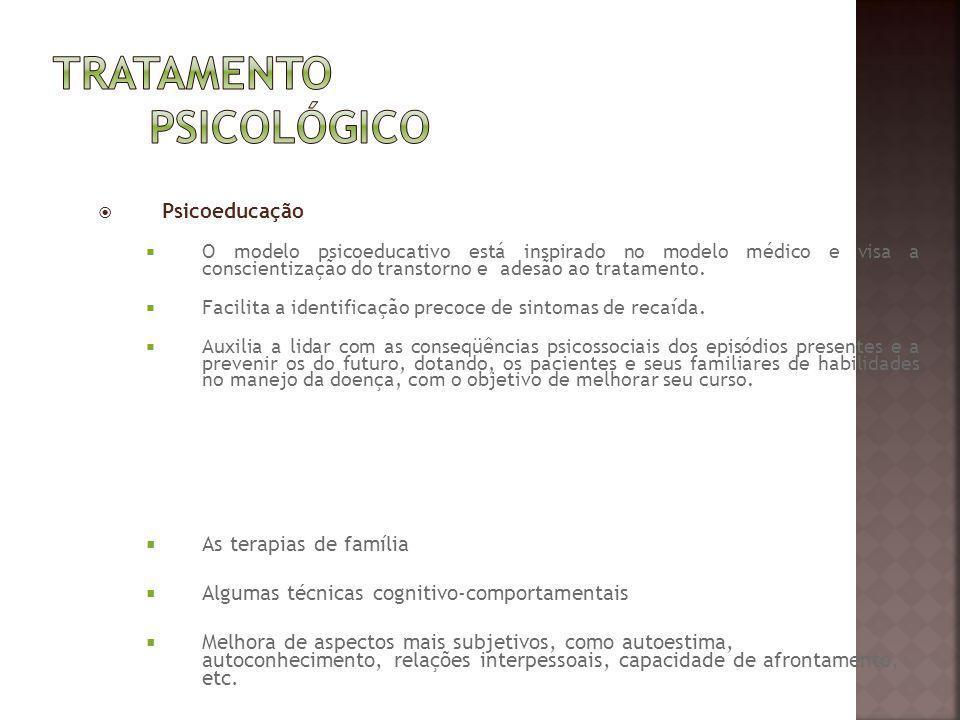 Psicoeducação O modelo psicoeducativo está inspirado no modelo médico e visa a conscientização do transtorno e adesão ao tratamento. Facilita a identi