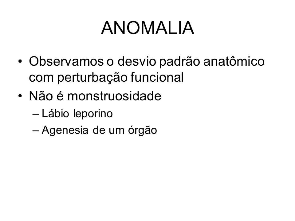 ANOMALIA Observamos o desvio padrão anatômico com perturbação funcional Não é monstruosidade –Lábio leporino –Agenesia de um órgão
