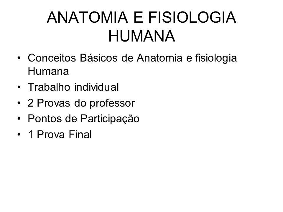 ANATOMIA E FISIOLOGIA HUMANA Conceitos Básicos de Anatomia e fisiologia Humana Trabalho individual 2 Provas do professor Pontos de Participação 1 Prov