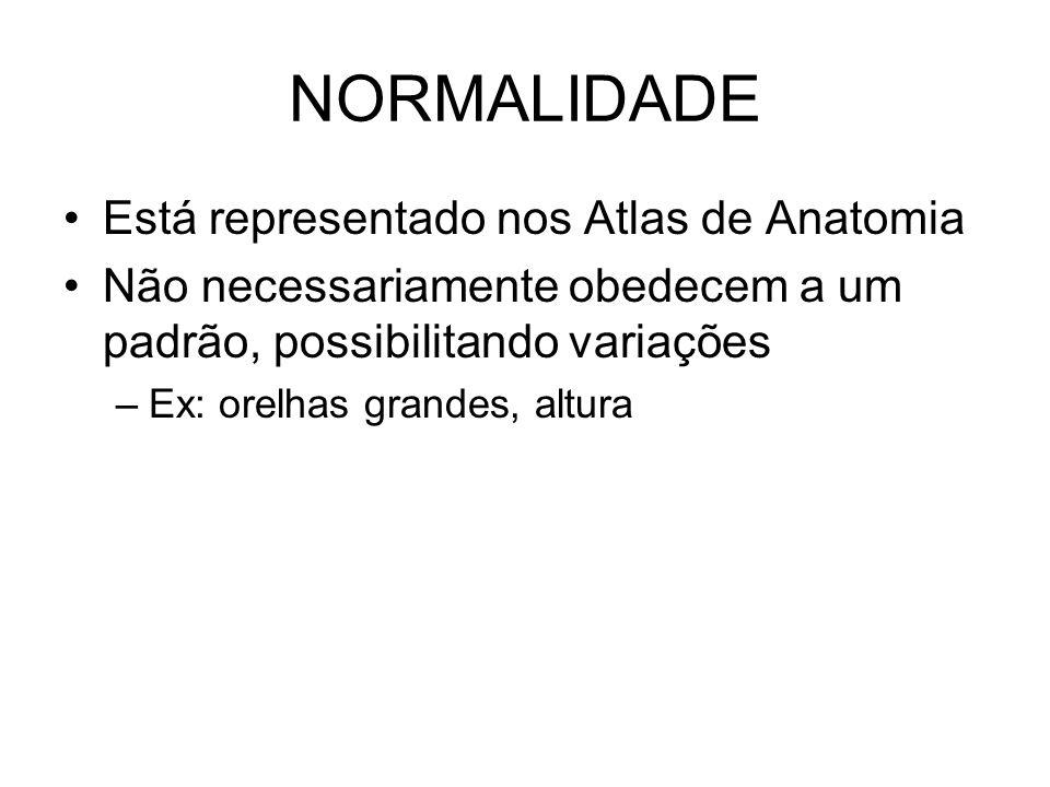 NORMALIDADE Está representado nos Atlas de Anatomia Não necessariamente obedecem a um padrão, possibilitando variações –Ex: orelhas grandes, altura