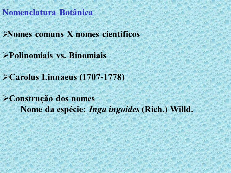 Nomenclatura Botânica - Regras Ex: Quando uma espécie muda de gênero, o nome do autor do basiônimo (primeiro nome dado a uma espécie) deve ser citado entre parênteses, seguido pelo nome do autor que fez a nova combinação.