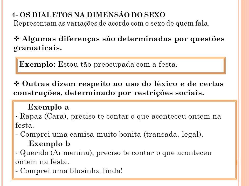 4- OS DIALETOS NA DIMENSÃO DO SEXO Representam as variações de acordo com o sexo de quem fala. Algumas diferenças são determinadas por questões gramat