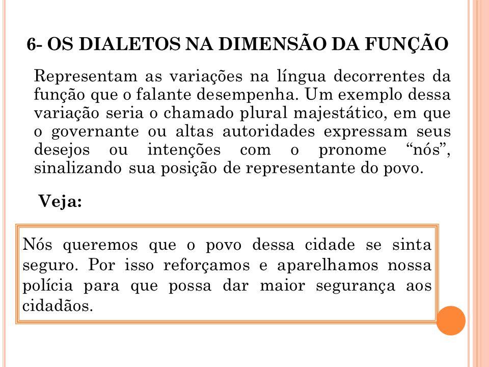 6- OS DIALETOS NA DIMENSÃO DA FUNÇÃO Representam as variações na língua decorrentes da função que o falante desempenha. Um exemplo dessa variação seri
